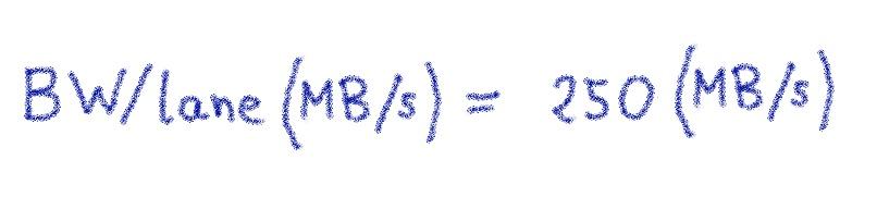 BW/lane\ (MB/s) = \ 250\ (MB/s)
