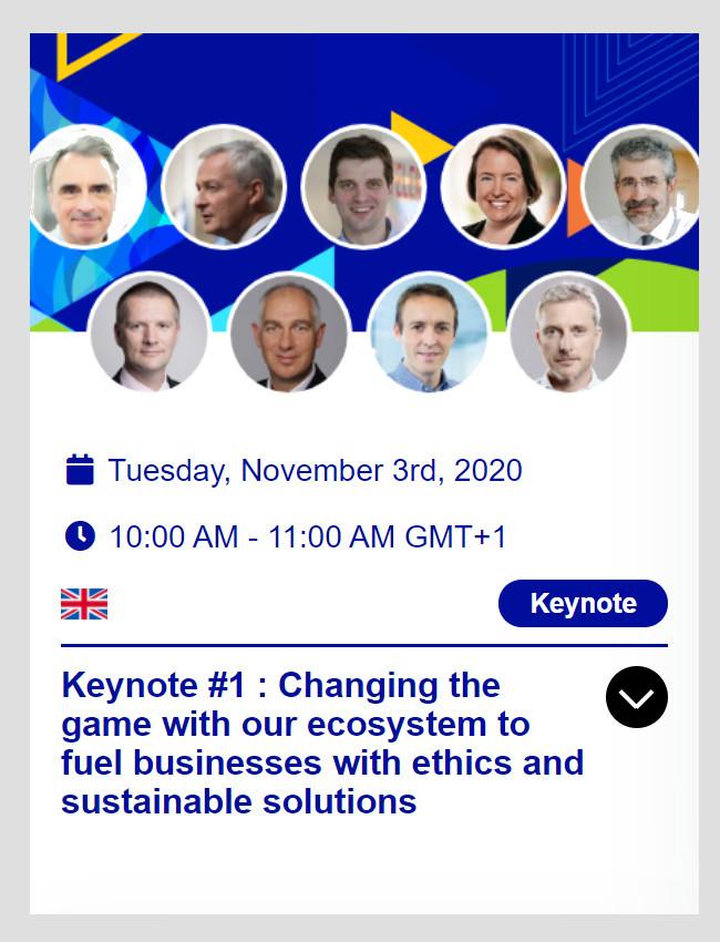 EcoEx2020 - Keynote #1 on November 3rd at 10:00 AM (CET)