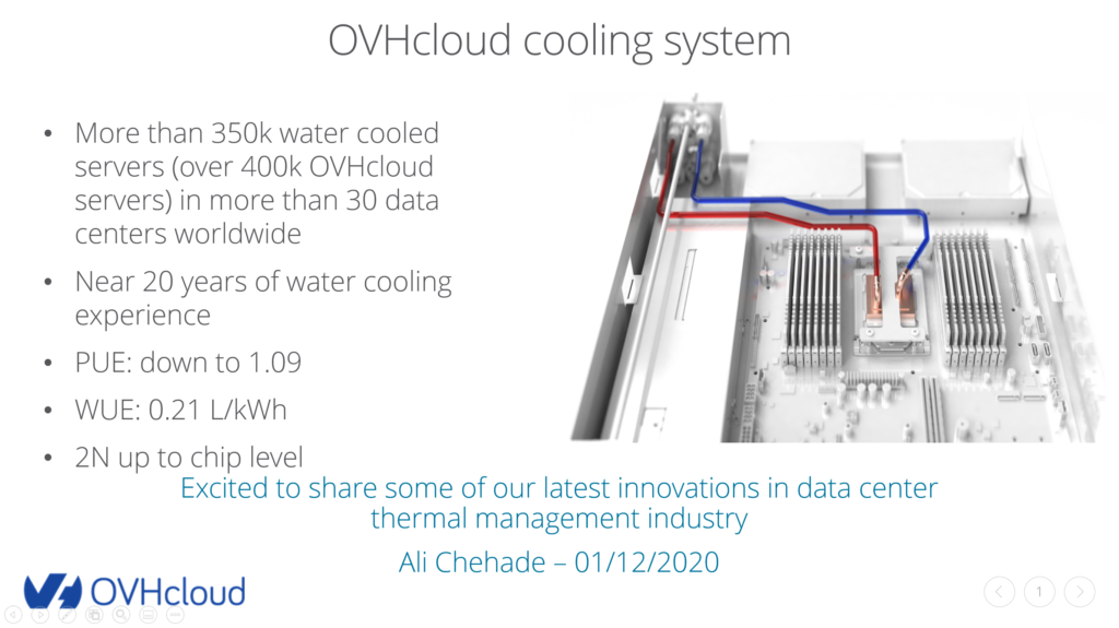 OVHcloud cooling system presentation by Ali Cherade, Head of R&D Cooling, at OCP, December 2020